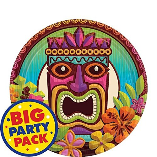 Sun-Sational Summer Luau Party Tropical Tiki Round Plates Tableware, Paper, 7