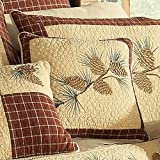 Donna Sharp Pine Lodge Quilt, Shams, Bedskirts, Pillows & Valance by (Beige, Pine Branch Pillow 15W x 15L)