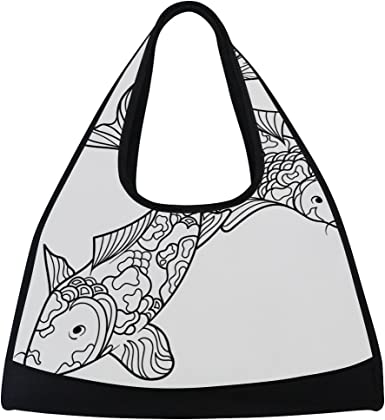 Sport Gym Bag Koi Fish Canvas Travel Duffel Bag