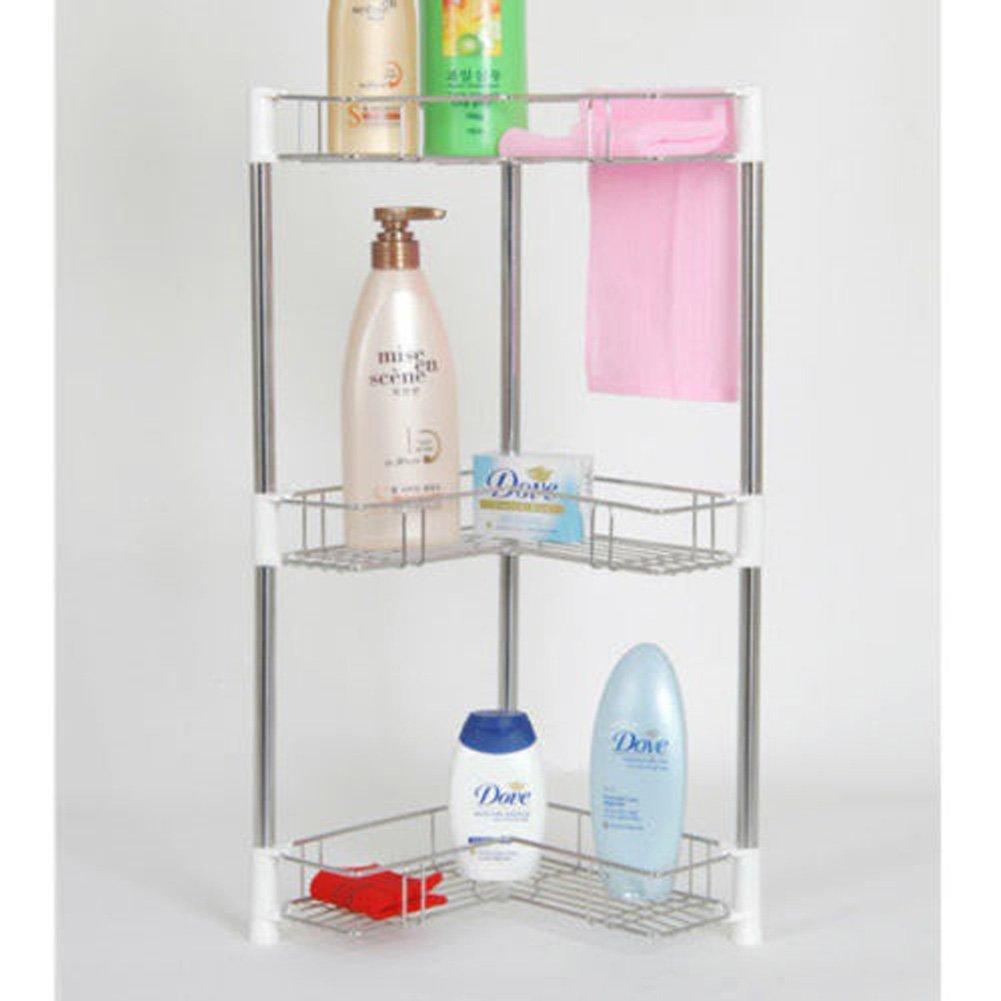 Asia Stainless Steel 3-tier Corner Bathroom Shampoo Rack Shelf Storage/sheves Organizer Cabinet Metal Steel Wire Shelving Garage