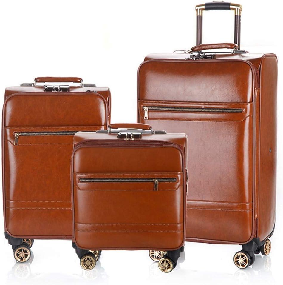 Juego de maletas 16in 20in 24in PU cuero Equipaje Conjuntos de 3 piezas Montantes verticales extensibles Maleta para llevar Ligero Rueda silenciosa giratoria 360 ° Multidireccional para vuelo y vuelo