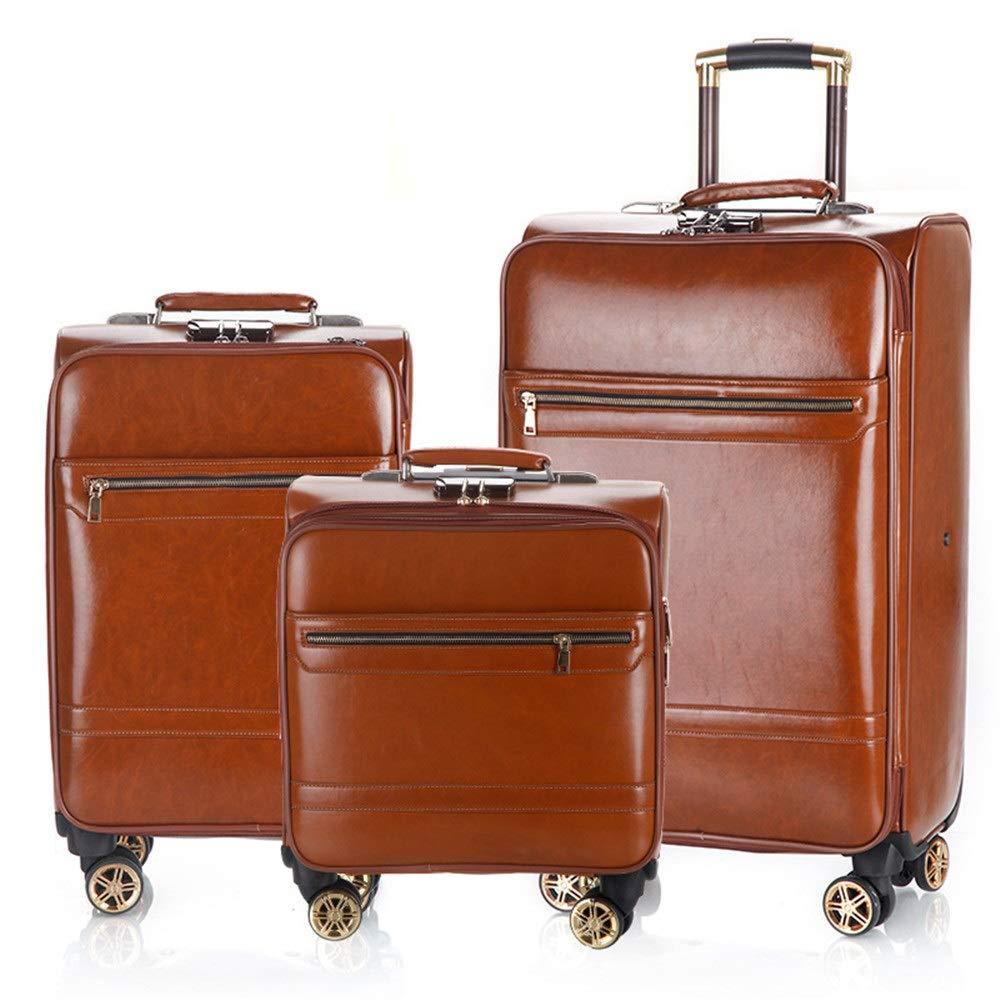 スーツケース PUレザー荷物3個セット拡張可能なアップライトキャリースーツケース軽量360°サイレントスピナー多方向ホイール(旅行用飛行機のフライト用)およびチェックイン16インチ20インチ24インチ (色 : Light brown, サイズ : 16in+20in+24in) B07T13XQ3R Light brown 16in+20in+24in