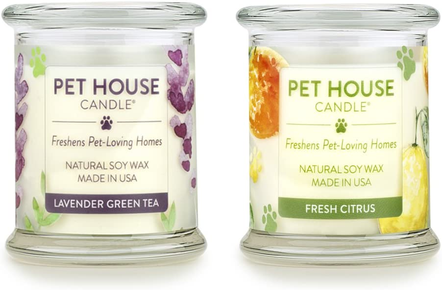 One Fur All - 100% Natural Soy Wax Candle - Pet Odor Eliminator, Up to 60 Hours Burn Time, Non-Toxic, Eco-Friendly Reusable Glass Jar Scented Candles - Fresh Citrus/Lavender Green Tea - Pack of 2