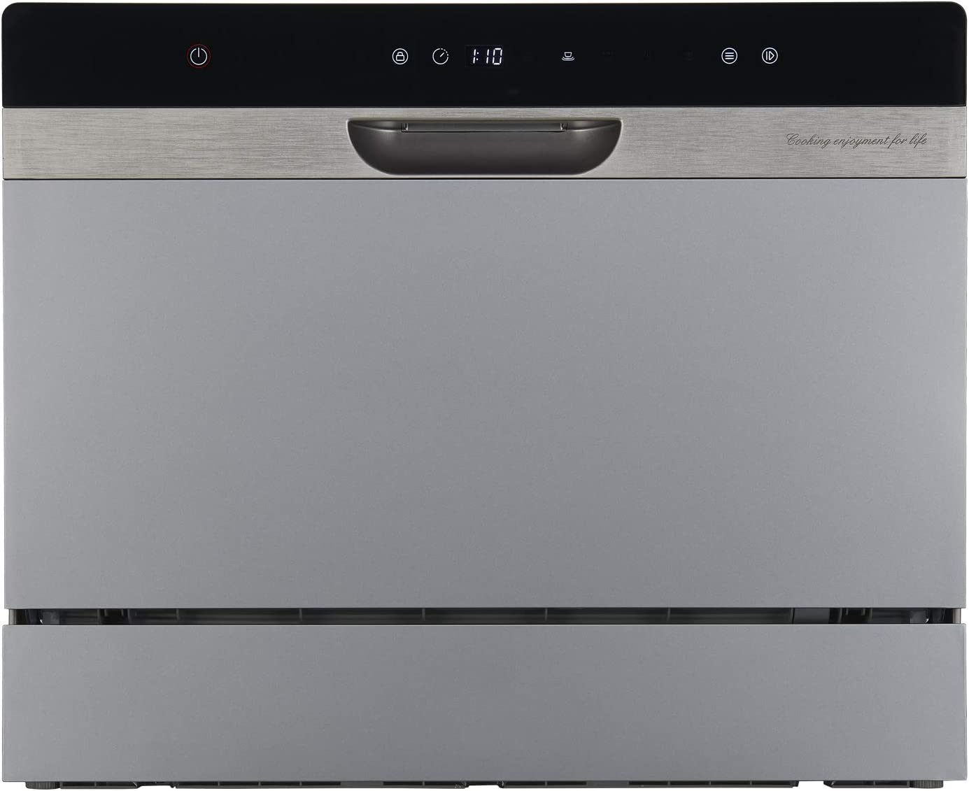 Compact Portable Countertop Dishwasher With Stainless Steel Interior and 6 Place Settings, LED Display, Energy Star, Rack Silverware Basket for Apartment Office And Home Kitchen