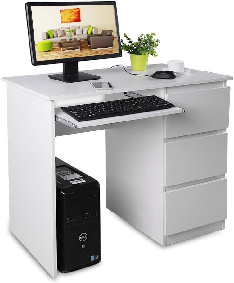 OHholly Escritorios, Mesas para ordenador con tres cajones grandes, y una bandeja de teclado separada,color blanco