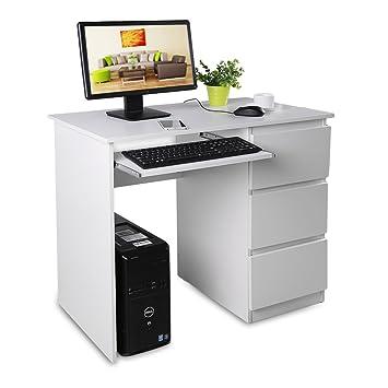 Homgrace Mesa para Ordenador portátil, Escritorio de la computadora con 3 cajones para hogar y Oficina 90 * 50 * 76 cm, Blanco: Amazon.es: Hogar