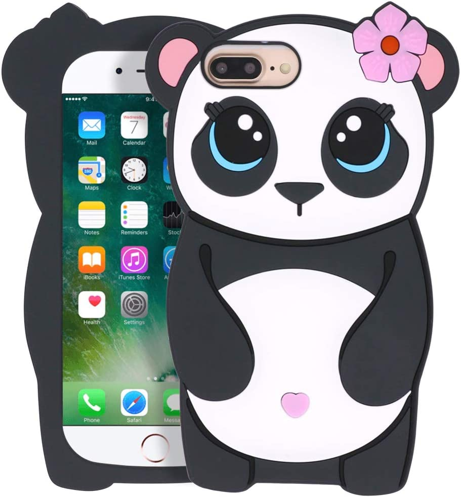 Megantree Cute iPhone 6 Plus case, iPhone 6s Plus case, iPhone 7 Plus case, iPhone 8 Plus case, Funny Animals Panda Shaped Case, 3D Cartoon Soft Silicone Shockproof Full Protection Cover Case for Girl