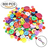 #8: 800 PCS DIY Crafts Assorted Mixed Color Resin Buttons 2 and 4 Holes Round Craft for Sewing Children's Manual Button Painting,DIY Handmade Ornament