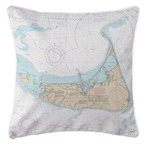 Nantucket Nautical Throw (Island Girl Home IGH-P206 Ma: Nantucket, Ma Nautical Chart Pillow,Multicolor,20x20)