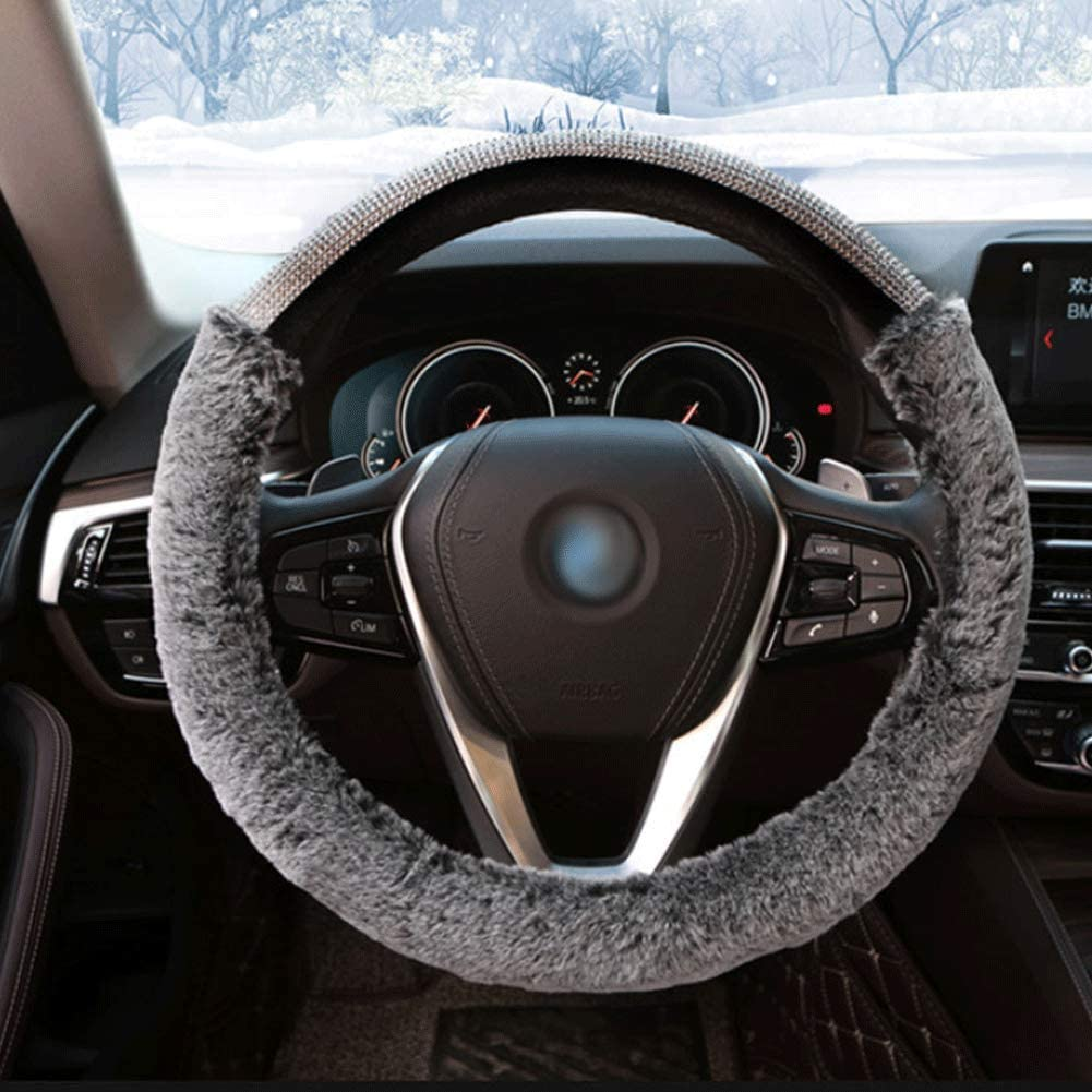 EGBANG Car Steering Wheel Cover Fur Bling Bling Rhinestone Auto Wheel Cushion Protector Luxurious Universal for Girls Lady Women Black
