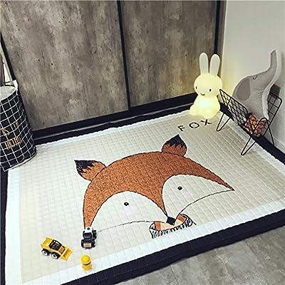 Eureya Tapis de sol/jeu pour enfant en coton 145 x 195cm, Coton, renard, 145*195cm