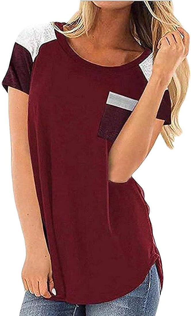 Rrive Womens Color Block Casual Pocket Short Sleeve Tops T-Shirt Blouse