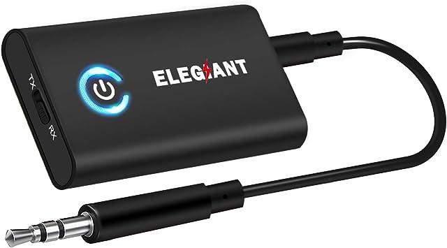 ELEGIANT Transmisor Bluetooth 5.0, Adaptador 2 en 1 para TV Coche, Jack 3,5 mm Receptor Audio Música Baja Latencia en Modo RX TX, Conexión multipunto para Altavoz MP3/MP4 DVD Sistema Estéreo etc.: