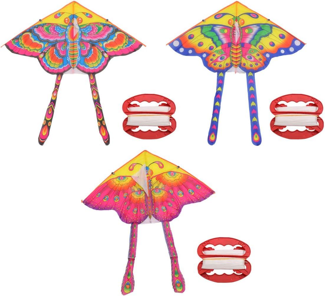NUOBESTY Mariposa Cometa Mariposa Cometa Fácil de Montar Y Volar para Juegos Y Actividades Al Aire Libre Parque Jardín Playa Jugando 3 Juegos (Patrón de Color Aleatorio)