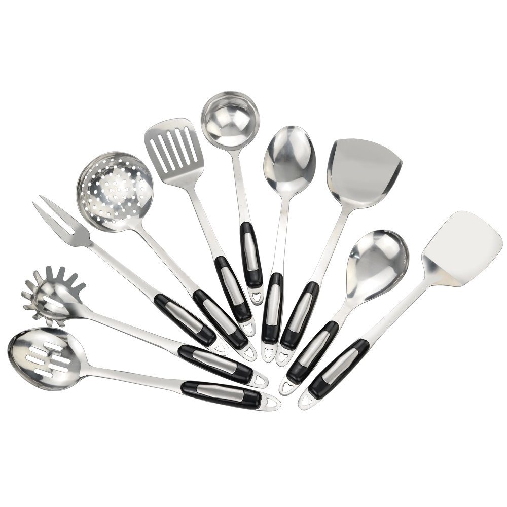 Bblie Stainless Steel Cooking Utensils Set, Set of 10 Bbliers