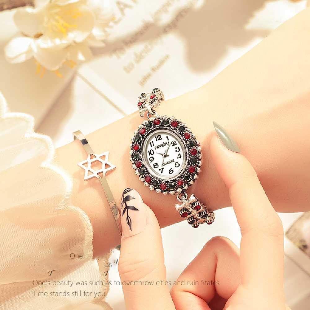 LYAO Nuevo Reloj De Pulsera De Plata Antigua De Diamantes De Imitación Mujer Relojes De Cuarzo Reloj De Pulsera para Mujer Blanco