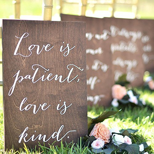 LesWal41 One Sign Wood Plaque 1 Corinthians 13 Love Never Fails Signs Love is Patient Signs Aisle Signs Wedding Verse Signs 1 Cor 13 Wedding Signs 18inch x -