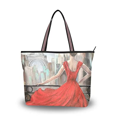 67d0f29820 Amazon.com  Brighter Woman In Red Dress Women s Tote Bag Hand Bags ...