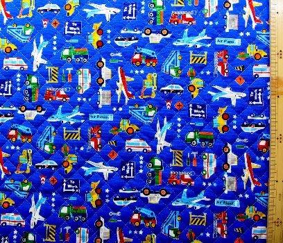 <プリント・キルティング生地>乗り物ランド(紺) (パトカー 消防車 飛行機 ダンプカー ショベルカー かわいい おしゃれ 男の子 女の子 子供 入園 入学 ピロル)の商品画像