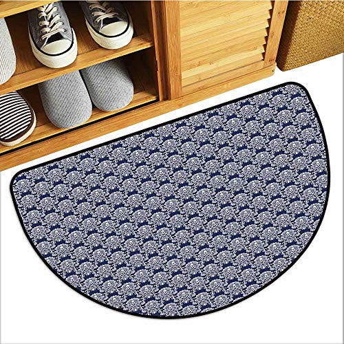 Custom&blanket All-Natural Rubber Doormats, Navy Blue Non-Slip Rugs for Kids Room, Abstract Floral Damask with Antique Victorian Design Renaissance Flourish (Dark Blue Bayberry, H16 x D24 Semicircle)