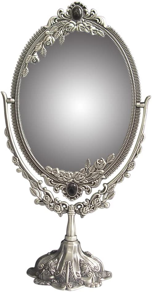 KINGFOM Antique Two Sided Swivel Oval Desktop Vanity Makeup Mirror with Embossed Roses and Mounted Beads for Home, Jewelry or Watches Cosmetics Showcase