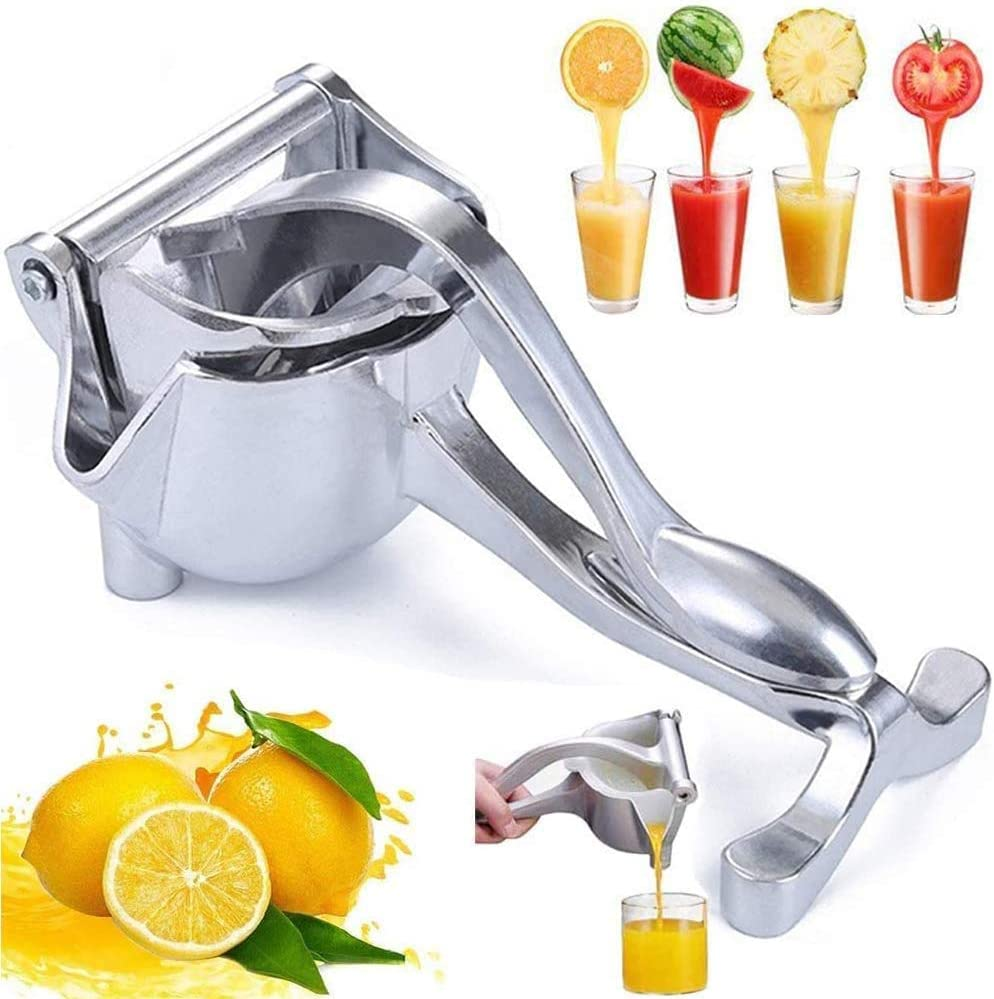 ICEGO Heavy Duty Manual Fruit Juicer Press Lemon Squeezer Premium Quality Stainless Steel Alloy Hand Juicer Squeezer Press Lemon Orange Juicer Fruit Citrus Extractor Tool (Silver)