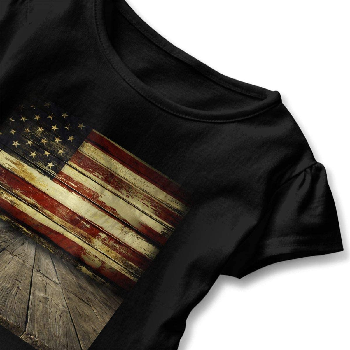 American Flag On Wooden Planks Wall Baby Girls Short Sleeve T-Shirt Flounced Summer Shirt Dress for 2-6 Years Old Baby