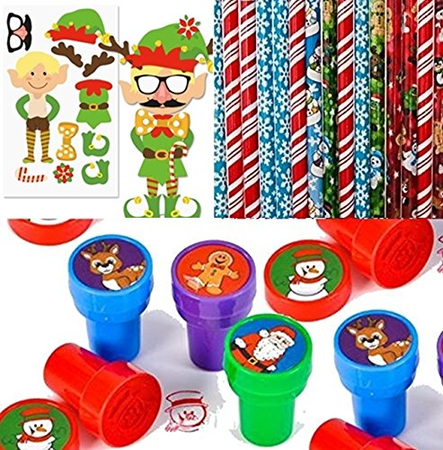 Christmas Stocking Stuffer Toy Assortment - Includes 12 Christmas Pencils, 12 Christmas Stampers and 12 ELF Sticker Sheets NEW SET