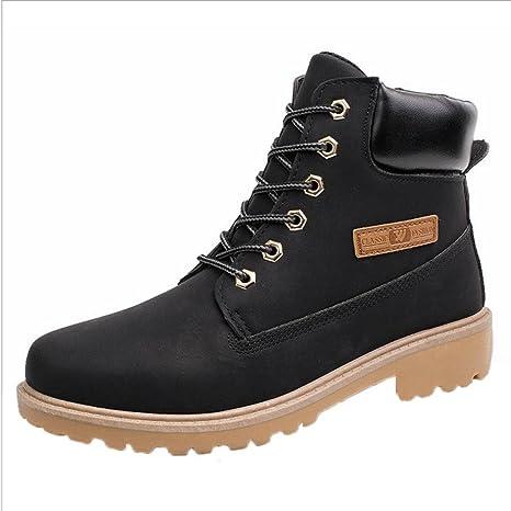 XINANTIME - Botines para hombres Forrado invierno otoño cálido Martin Boots Zapatos (40, Negro