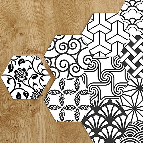 APSOONSELL Mixed Design Wall Decorative Tile Backsplash for Kitchen & Bathroom, 9 inch, Pack of 10 ()