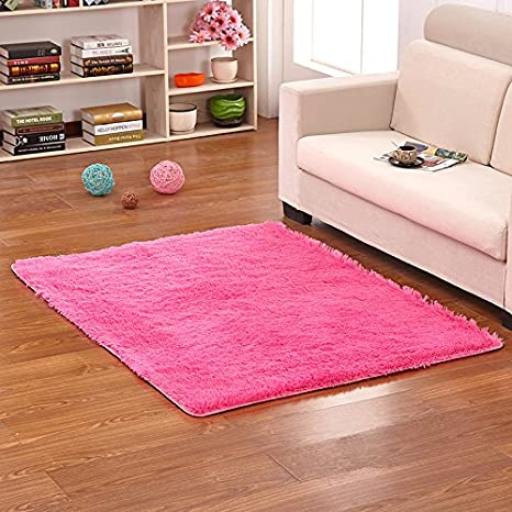 Amazon.com: Hoomy Fluffy Hot Pink Rugs Square Shaggy Bedroom ...