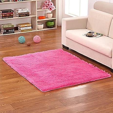 Amazon.com: Hoomy Modern Fluffy Living Room Floor Mats Hot Pink Soft ...
