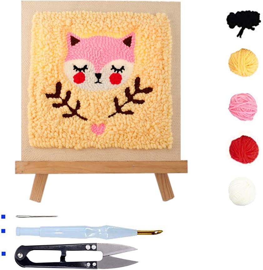Stosts Square Punch Needle Embroidery Kit with Display Stand Beginner DIY Rug-Punch Hook Knitting Set Including Embroidery Pen and Wood Frame Bear 10x10 Inches