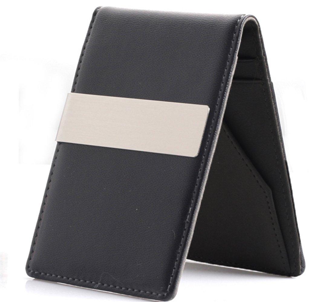 FormBox PU Leather Slim Money Clip Wallet Credit ID Card Holder (Black)