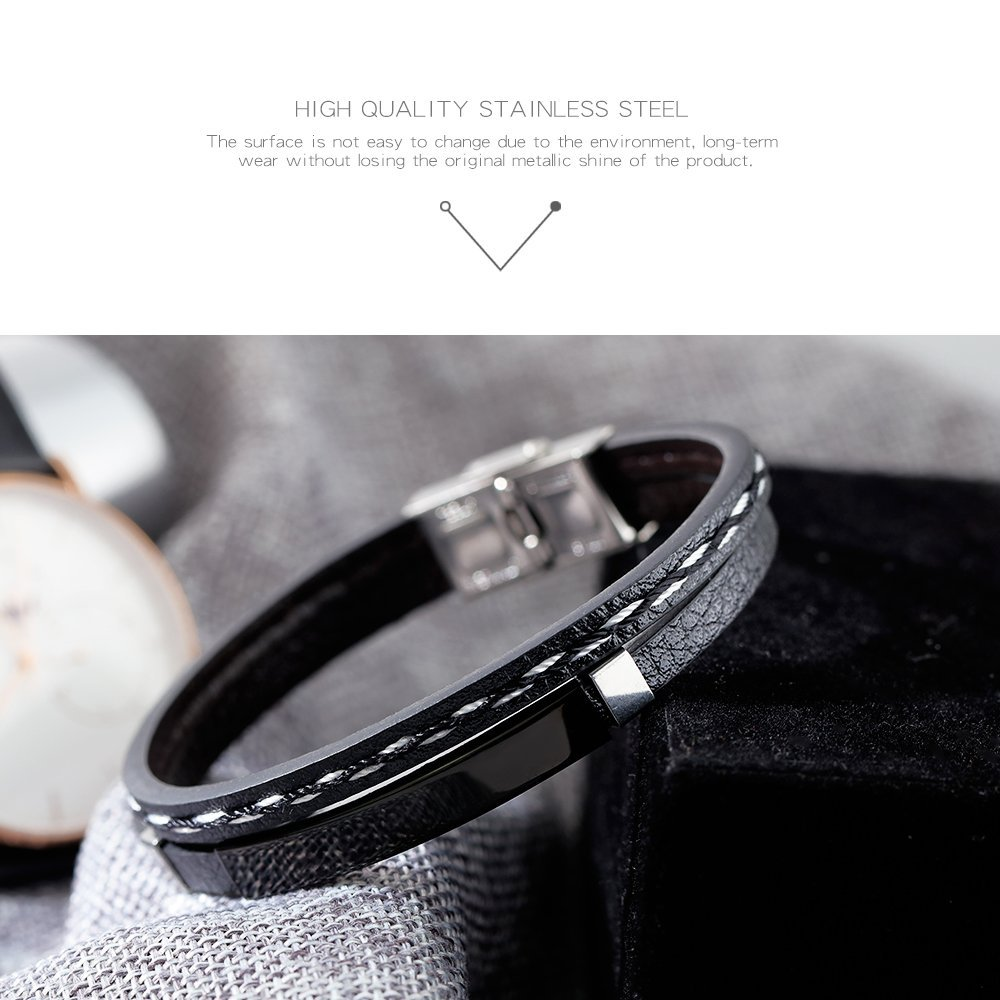 GAGAFEEL Leather Bracelet Braided Rope Cuff Custom Engraved Message Stainless Steel Bangle Unisex Gift (Engraving-Black) by GAGAFEEL (Image #3)