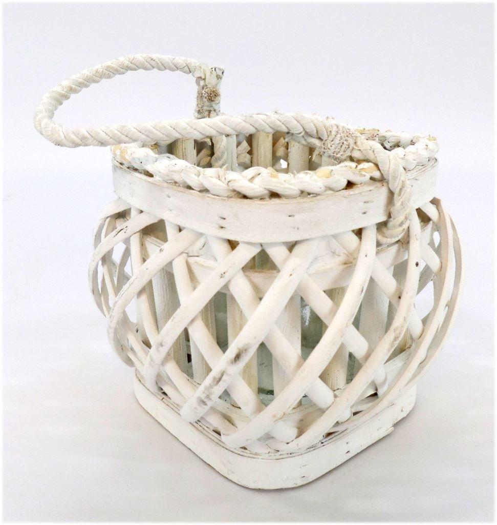 Lanterna portacandela bianca quadra in vimini vacchetti