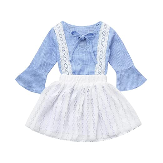 f819c0d9e0c8 Amazon.com  iumei Toddler Baby Girls Clothes Flare Sleeve Lace T ...