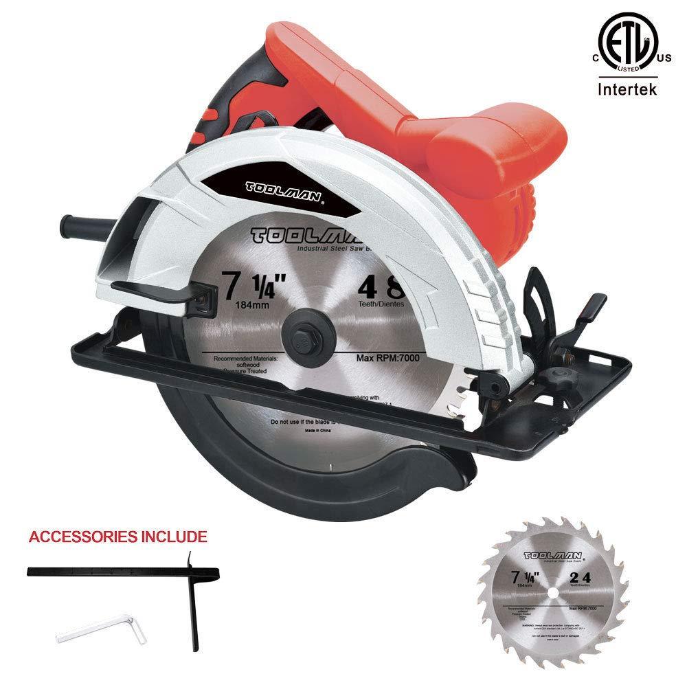 Toolsman circular saw 7-1/4 in 12A(amps) Max speed 5000RPM works with DeWalt Makita Ryobi