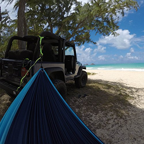 The Ultimate Single Camping Hammocks- The Best Quality Camp Gear For Backpacking Camping Survival & Travel- Portable Lightweight Parachute Nylon Ropes and Carabiners Included! (Navy Blue & Light Blue)