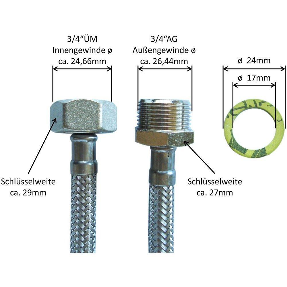 1-5m Verl/ängerungsschlauch Waschmaschinen Geschirrsp/üler aus Metall