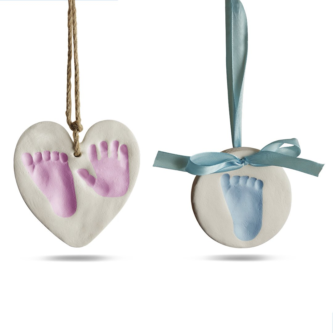Bubzi Co Baby Handprint & Footprint Clay Ornament Kit for Newborns & Infants, Personalized Keepsake, Display on Room Wall, Nursery, Christmas Tree Decor, Includes Heart & Circle Mold, Paint, Easels
