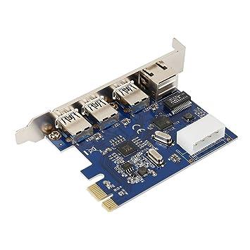 Richer-R Tarjeta de Expansión,Adaptador 3 Puertos de USB 3.0 para PC de PCI-Express/Windows XP/Vista/win7/win8/win10,etc.(1Gbps,RJ45)