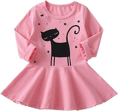 Idea de Regalo Verano Color Rosa ni/ña Vestido Manga Corta Vestido ni/ña Gato