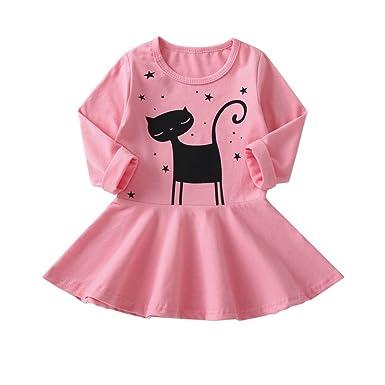 f3152a2a4 Amazon.com  Cute Cat Printing Dress Kids Long Sleeve Dresses for 0-5 ...