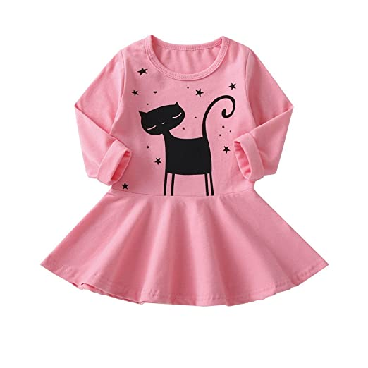 c622b6eeab53 Amazon.com  Clearance Sale Kids Little Girls Dresses Cute Cat ...