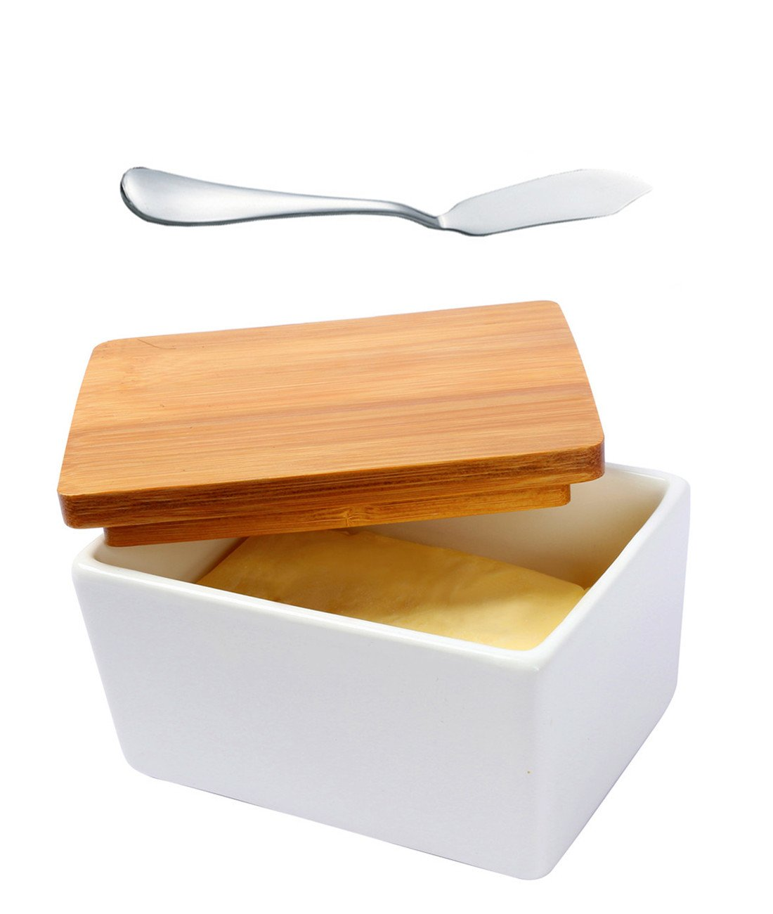 Fecihor Butter Dish with Butter Knife, Butter Keeper Butter Container with Bamboo Lid Food Storage Candy Box Baking Dish,White(5.1''3.7''2.7'',500ml)