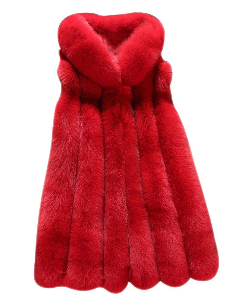 LaoZan Cárdigan Chaqueta Abrigo de Piel Artificial sin Mangas con Capucha para Invierno
