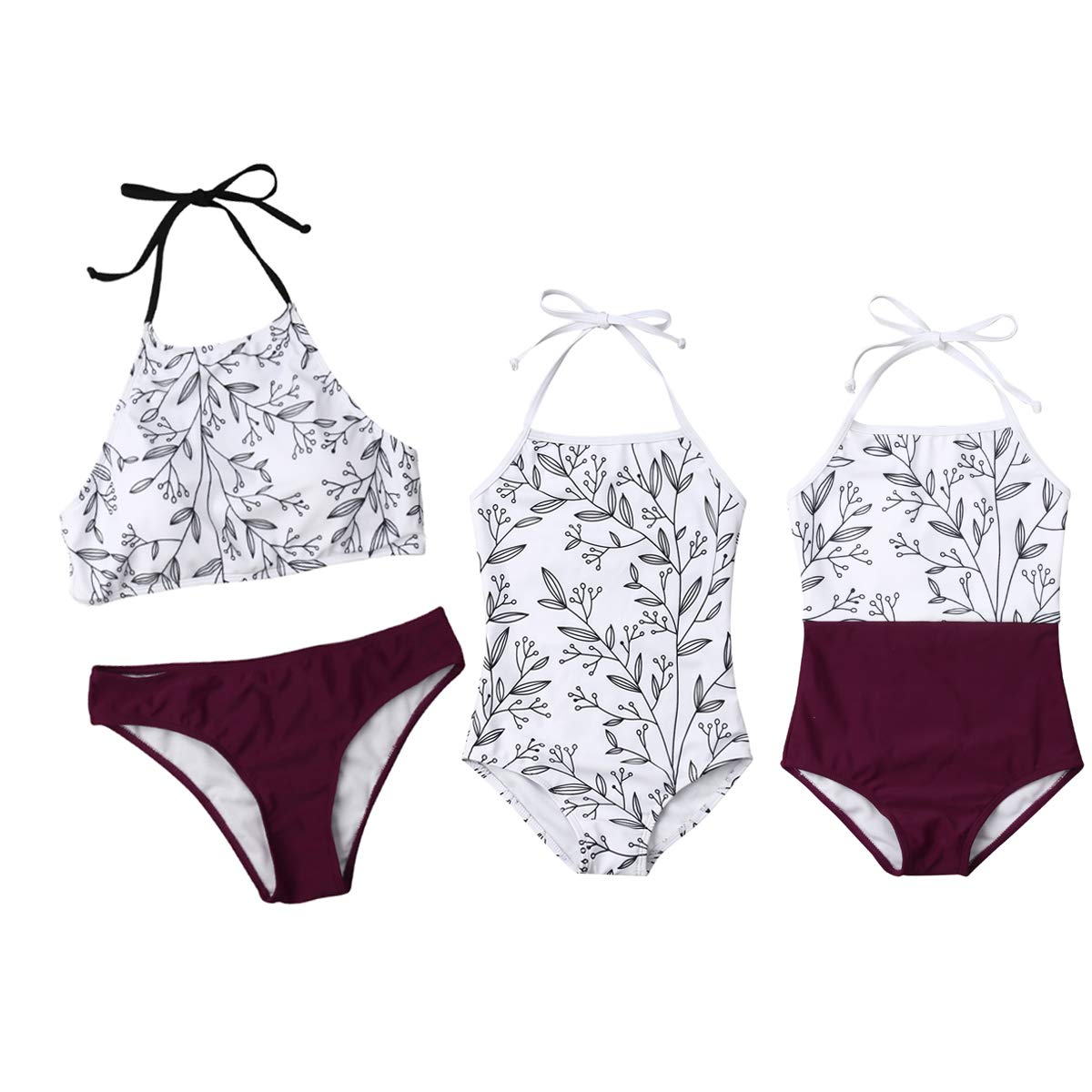 a9b8289736eec Amazon.com  Baby Girls Little Sister Floral One Piece Bikini Set Family  Matching Mother Girl Swimwear  Clothing