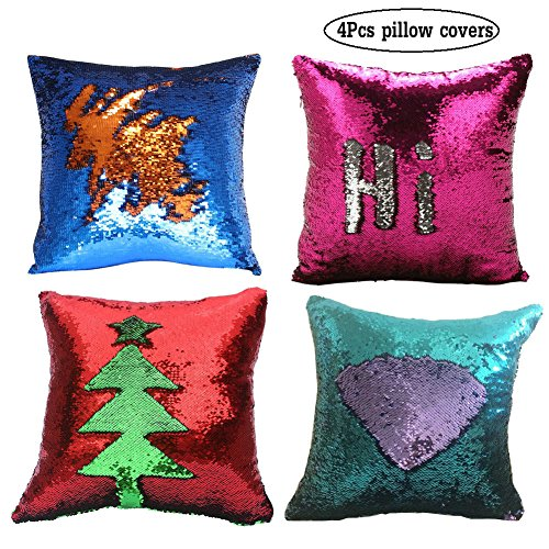 Fengheshun Reversible Sequins Mermaid Pillow Covers,Valentine 's Day Children' s Day Gift 40×40 cm Magical Color Changing Pillowcase Indoor Decorations (08)
