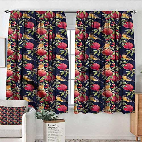Pomegranate 108 - Anzhutwelve Nature,Room Darkening Curtains Exotic Birds and Pomegranate 104